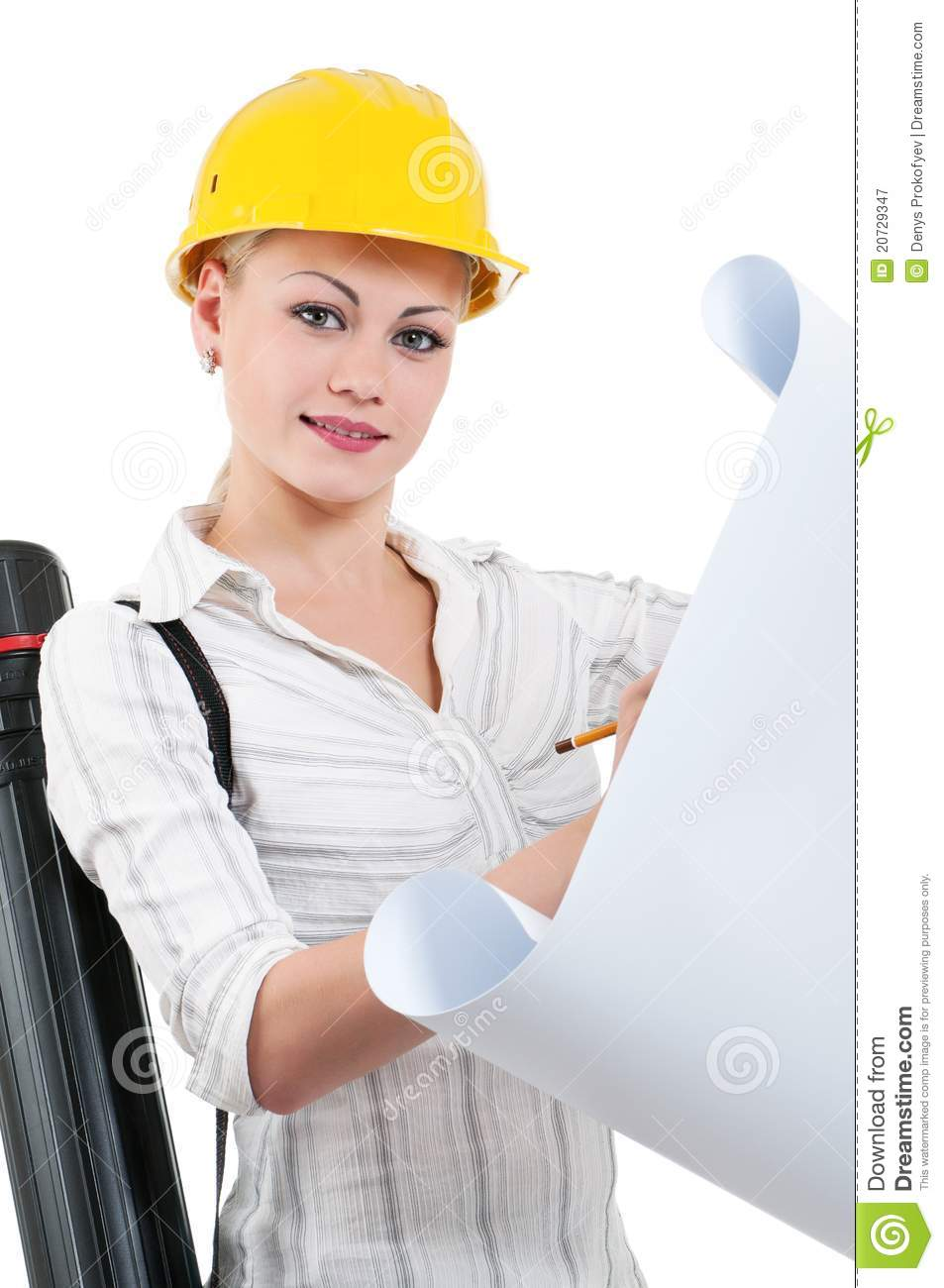 Girl With Hard Hat Royalty Free Stock Photography Image