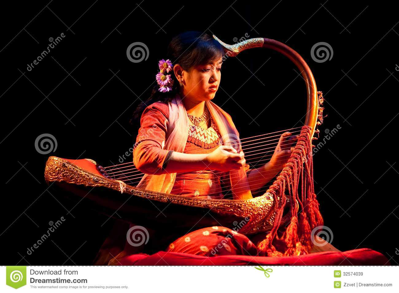 Girl with Harp, Myanmar editorial stock image. Image of ...