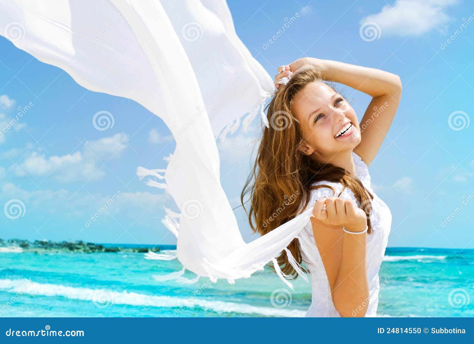 Girl Having Fun on the Beach