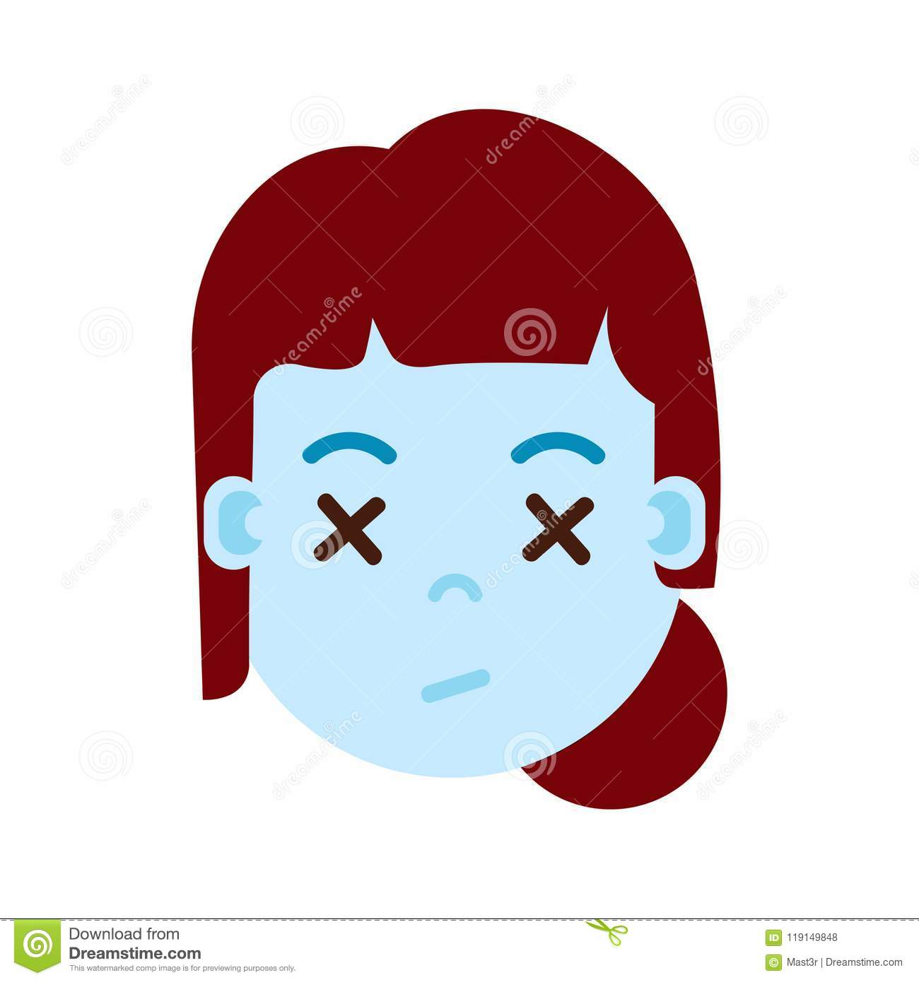 Girl Head Emoji With Facial Emotions Avatar Character Woman Dead