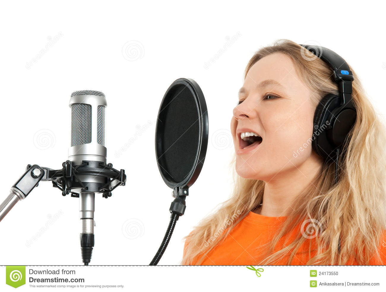 girl in headphones singing with studio microphone stock photo image of blond karaoke 24173550. Black Bedroom Furniture Sets. Home Design Ideas