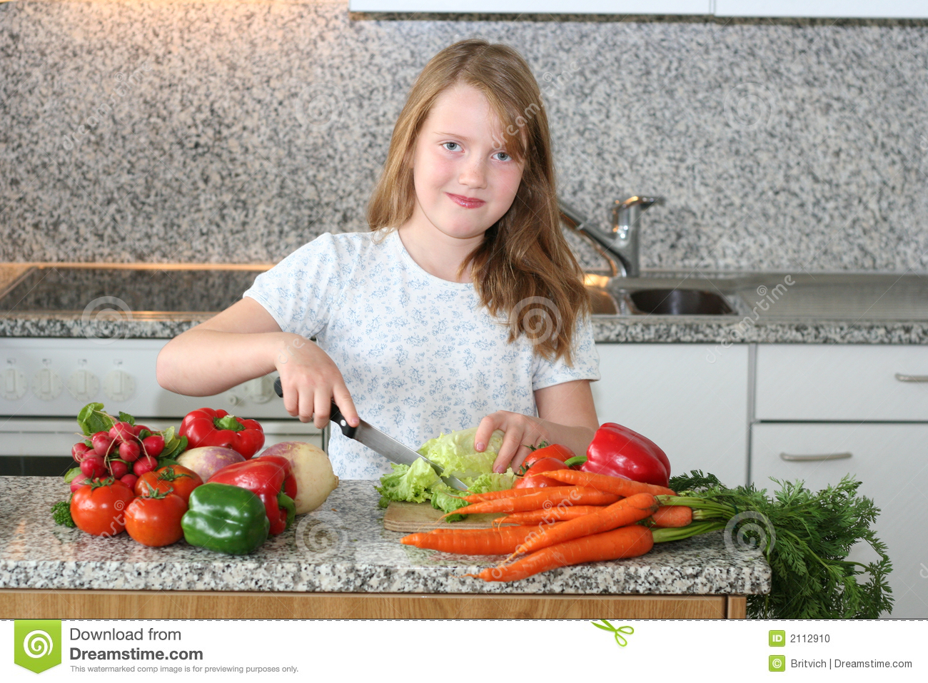 Girl Help Mom In The Kitchen Stock Photo - Image of childhood ...
