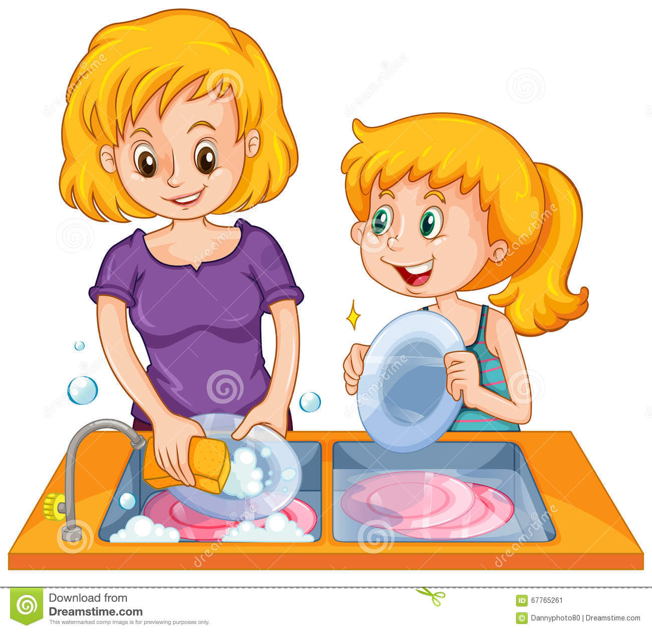 Girl Helping Mom Doing The Dishes Stock Vector