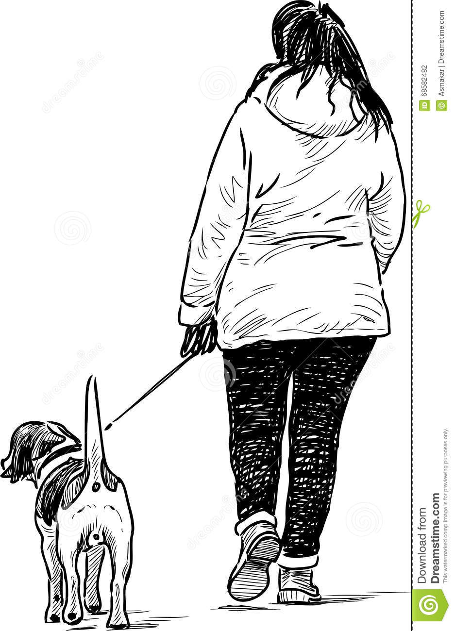Girl With Her Pet On A Strol Stock Vector - Illustration of casual ... 194f33a8a4