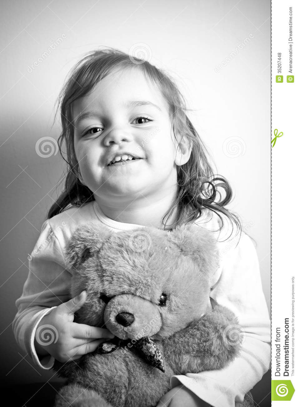Girl With Her Teddy Bear Royalty Free Stock Photos - Image ...Little Girl With Teddy Bear Black And White