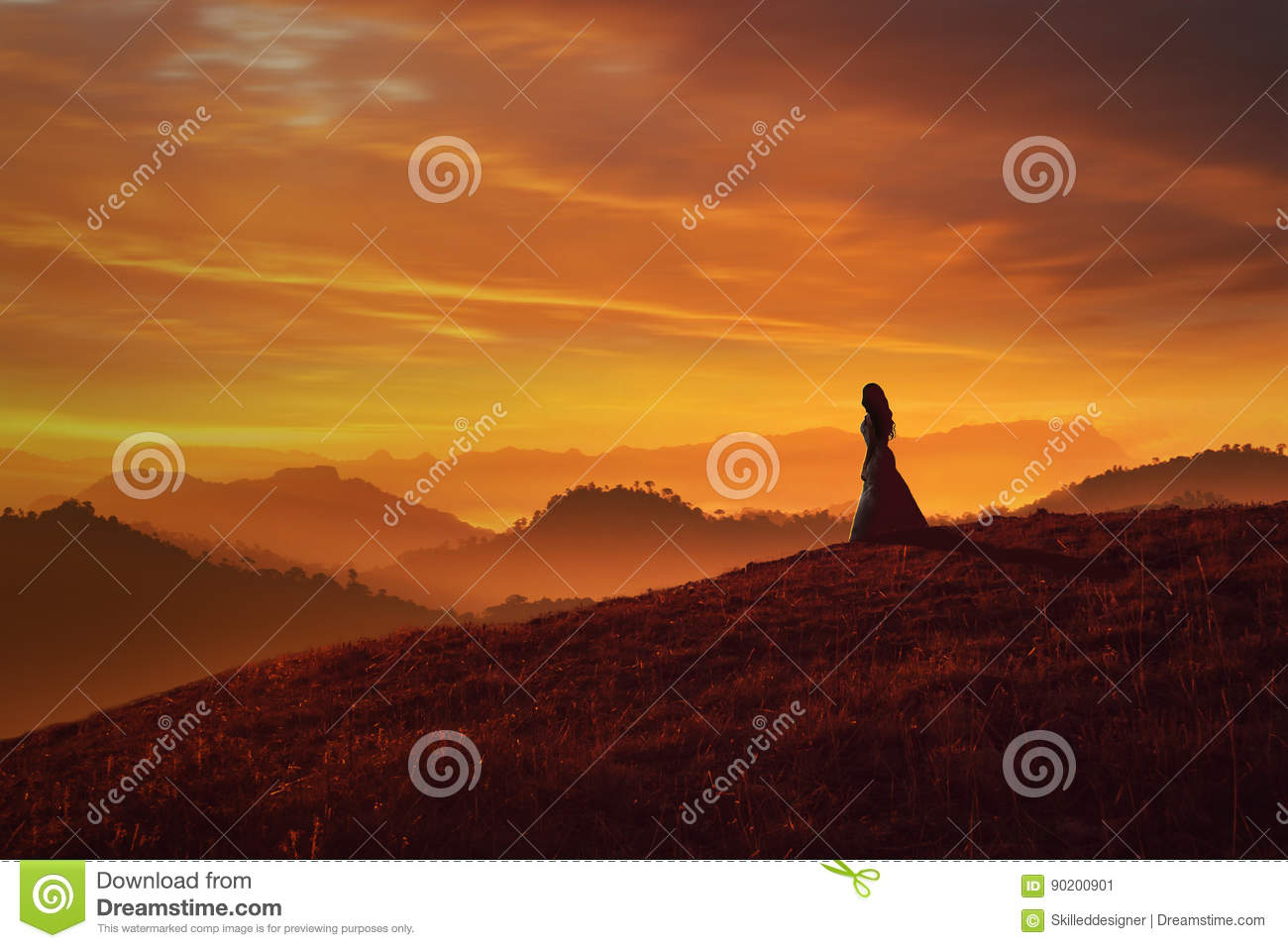 Girl On Hill At Sunset Royalty Free Stock Photo