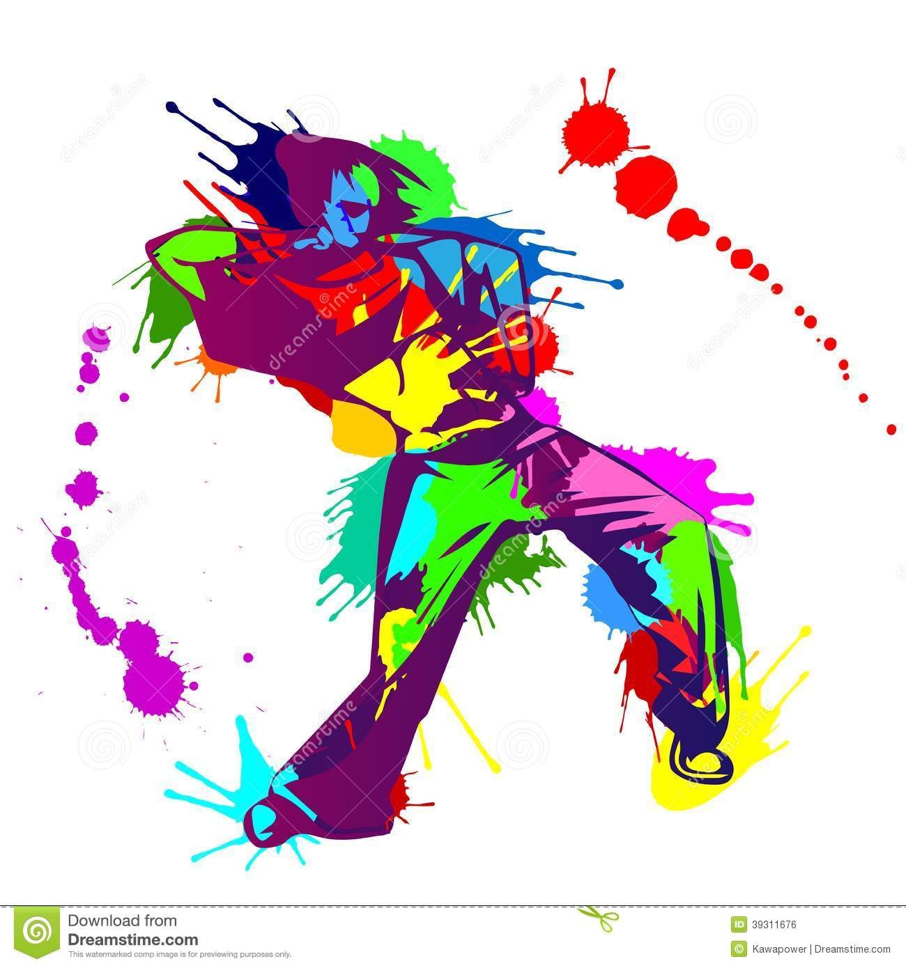 Girl Hip Hop Dancer With Colorful Paint Splashes Stock -3415