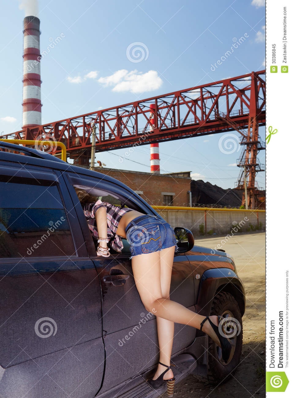 Girl Hitchhiker Royalty Free Stock Photo Image 30386845