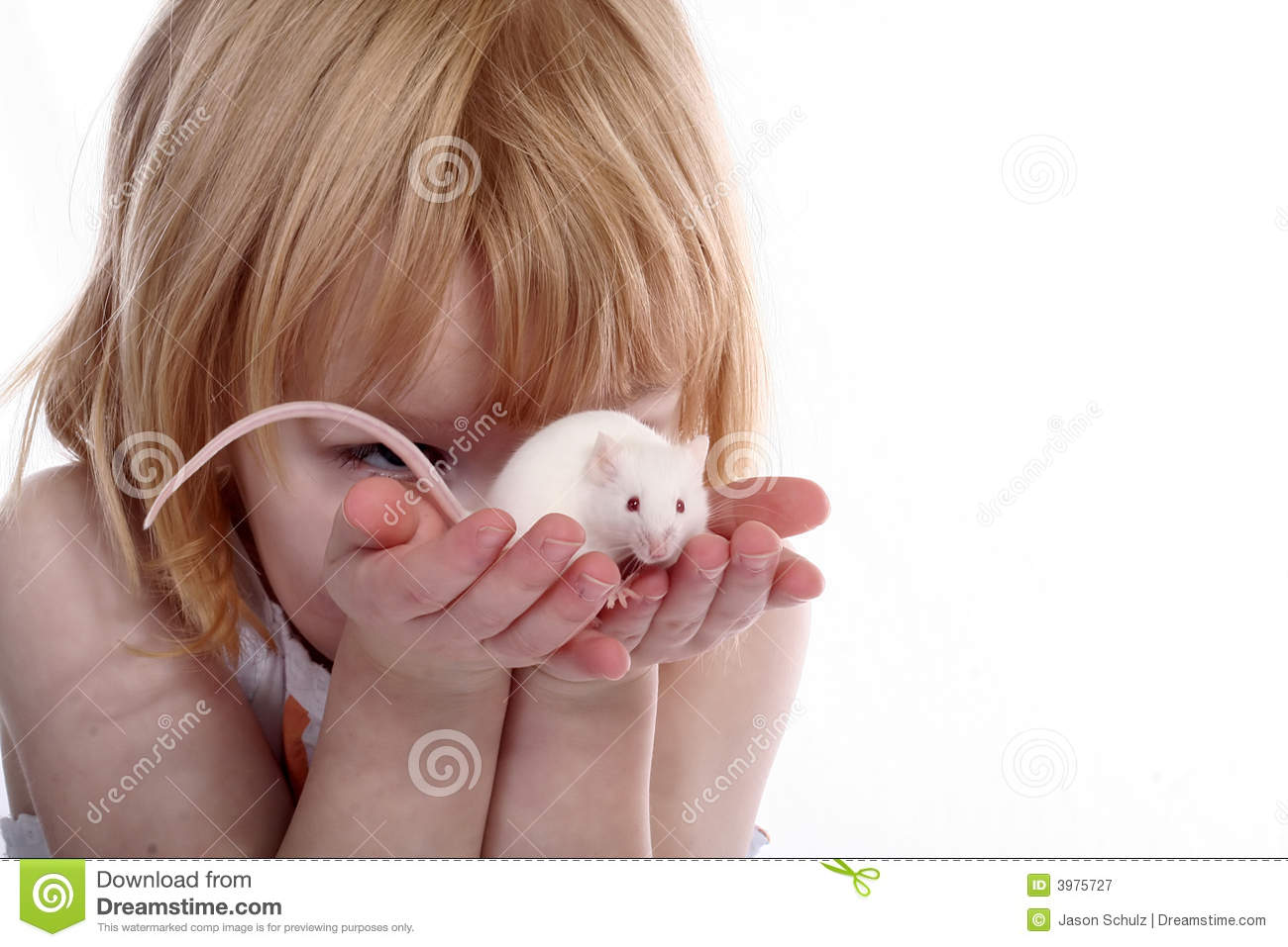 Girl hold white mouse