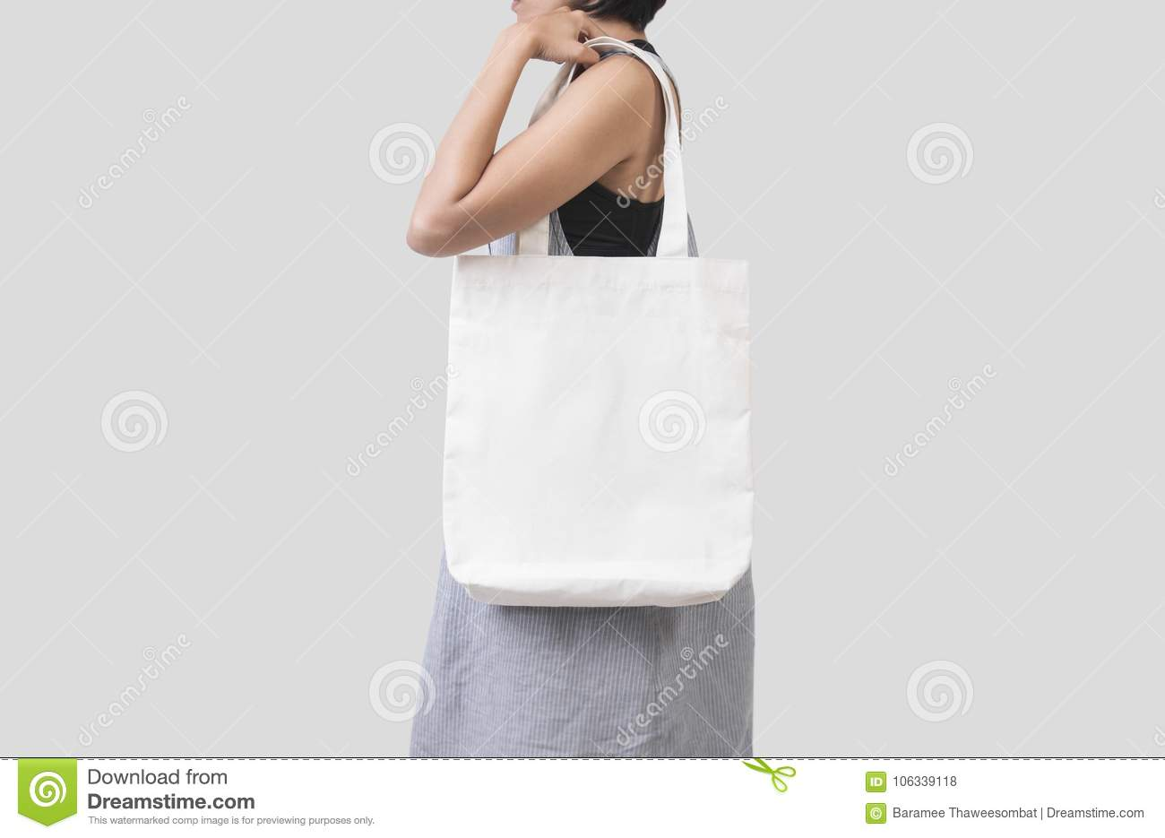 033a3722 Girl Is Holding Bag Canvas Fabric For Mockup Blank Template Stock ...