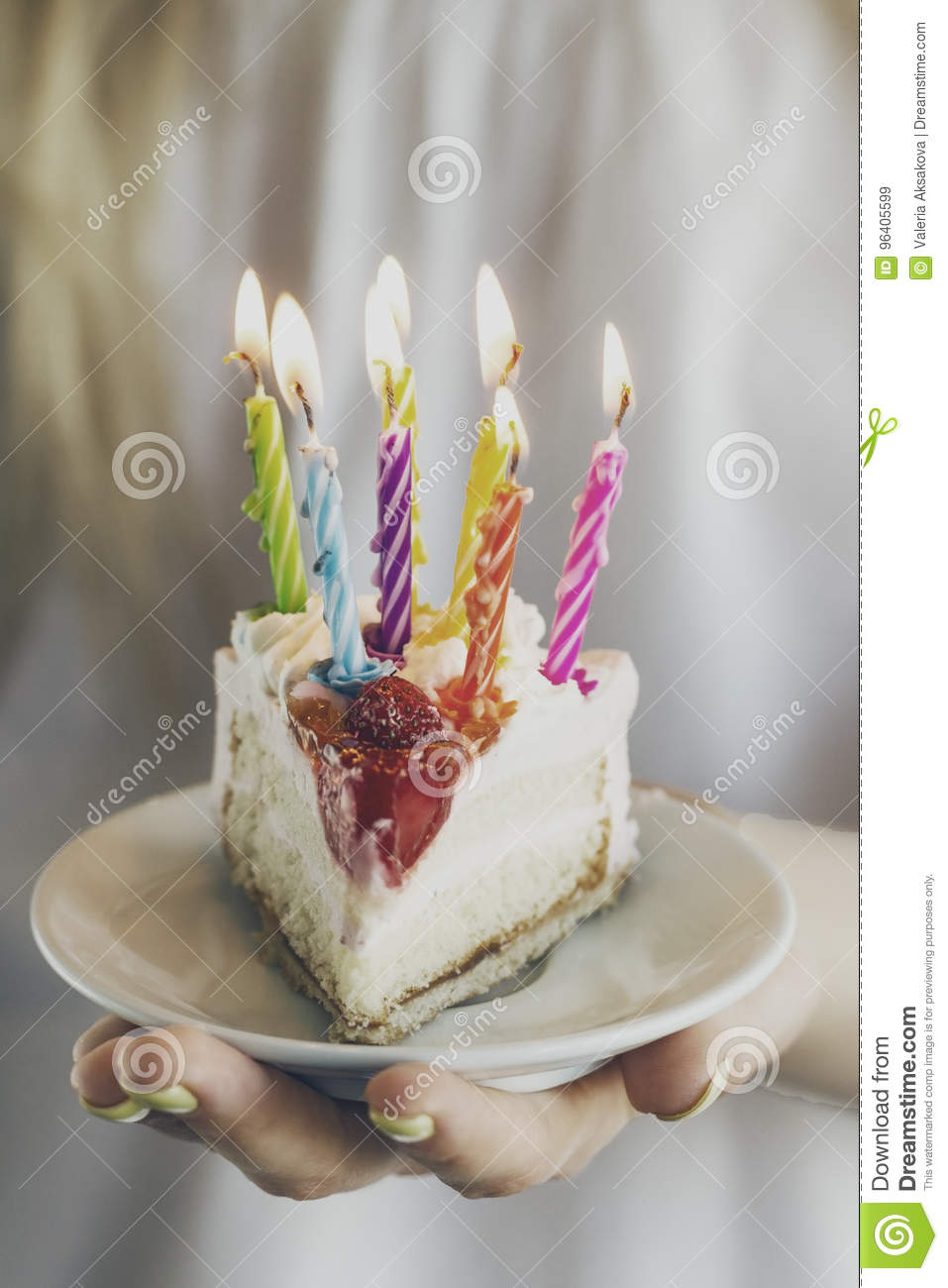 Girl Holding Beautiful Appetizing Birthday Cake With Many Candle