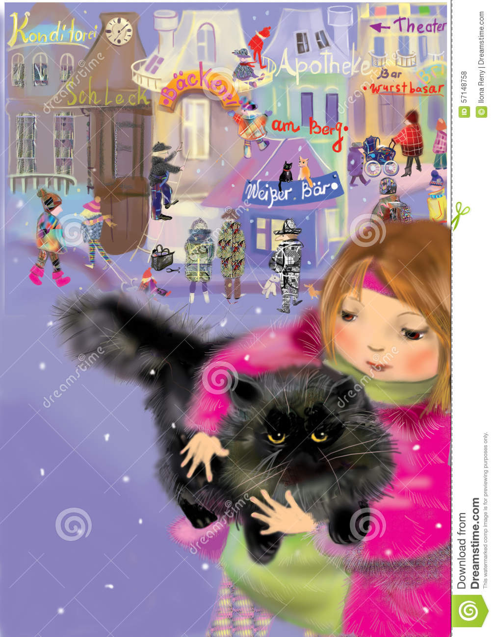 Girl holding a black persian cat