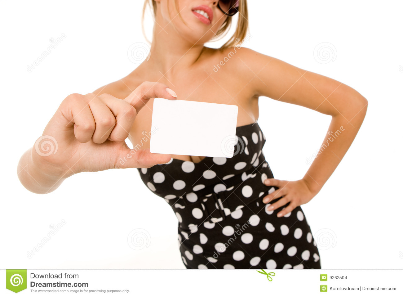 Girl Holding Blank Business Card Stock Photo - Image: 9262504