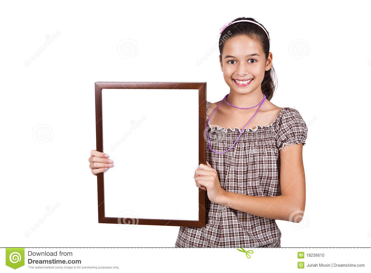 Girl Holding A Blank White Card For Text. Stock Photo ...