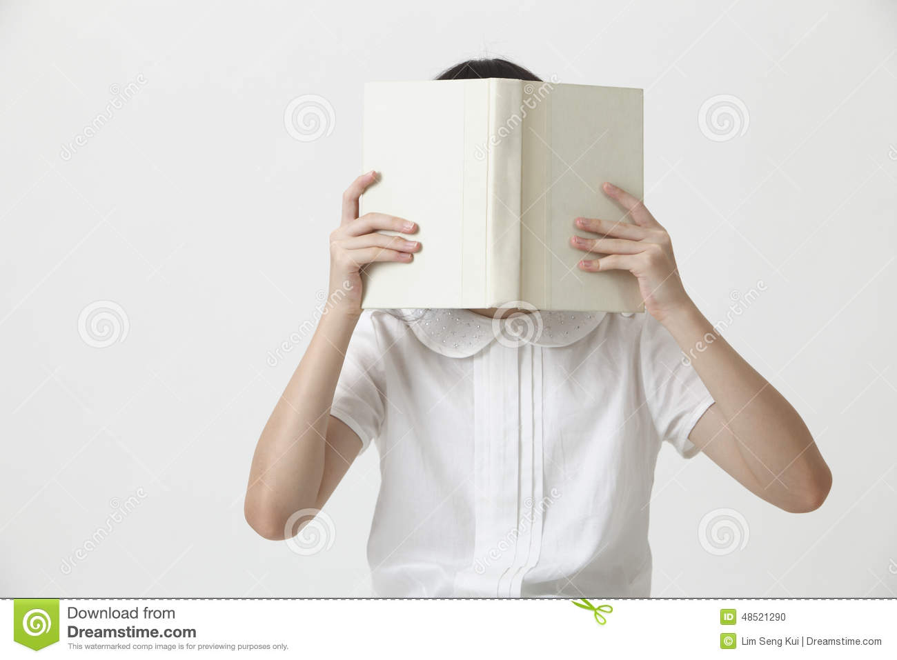 Book Covers With Faces : Girl holding book stock photo image