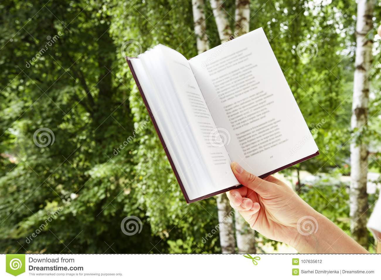 Girl Is Holding Book In Nature Close Up A Woman S Hand With