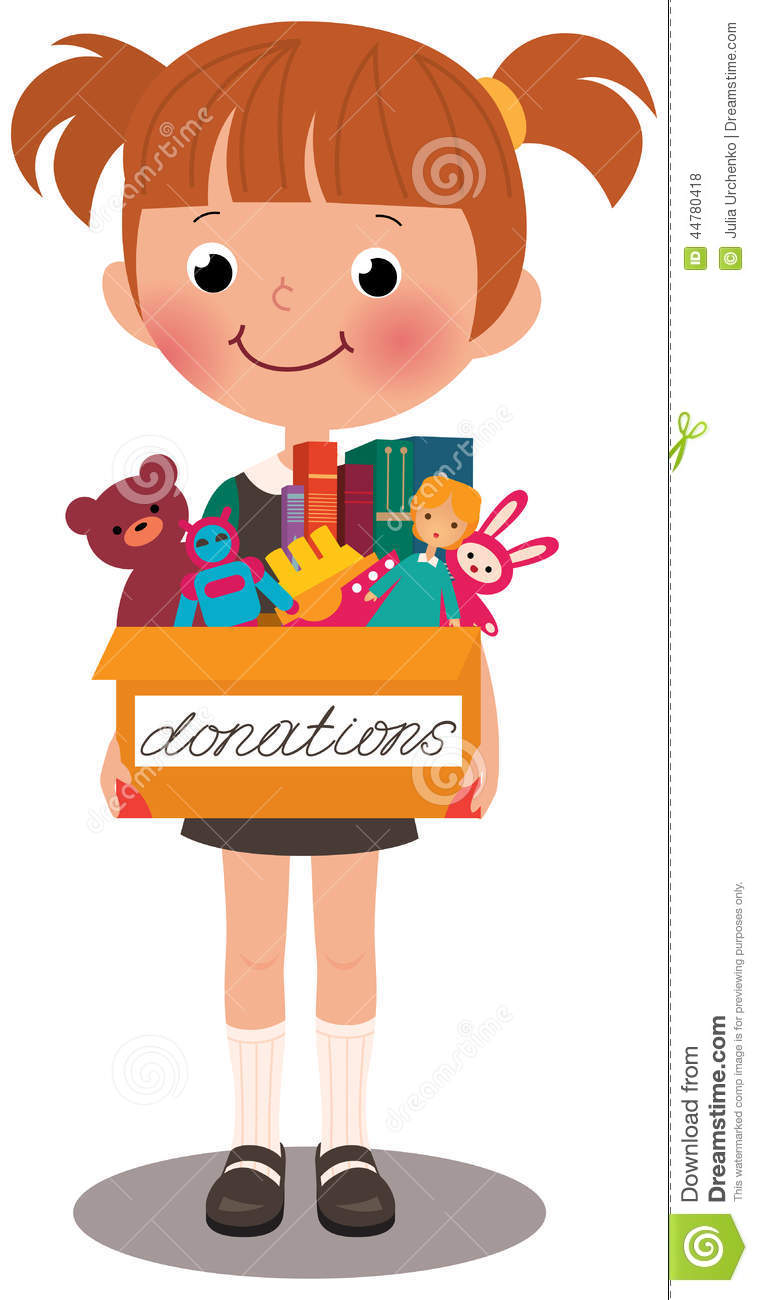 Art Toys For Girls : Girl holding a box of donations stock vector image