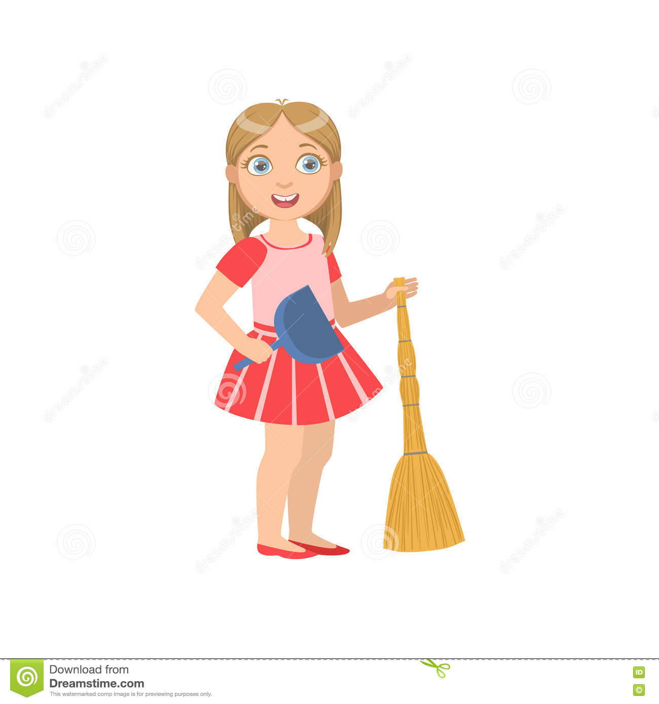 Girl Holding The Broom And Duster Stock Vector