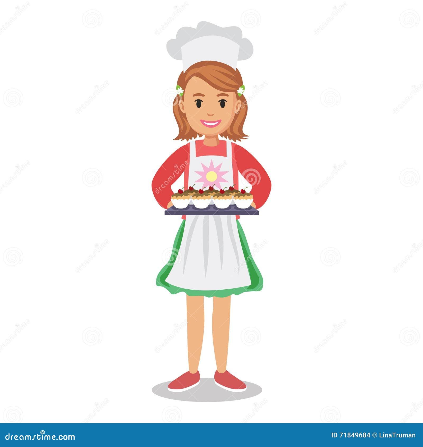 Girl Holding Cakes, Muffins, Cupcakes. Baker Girl, Girl ...