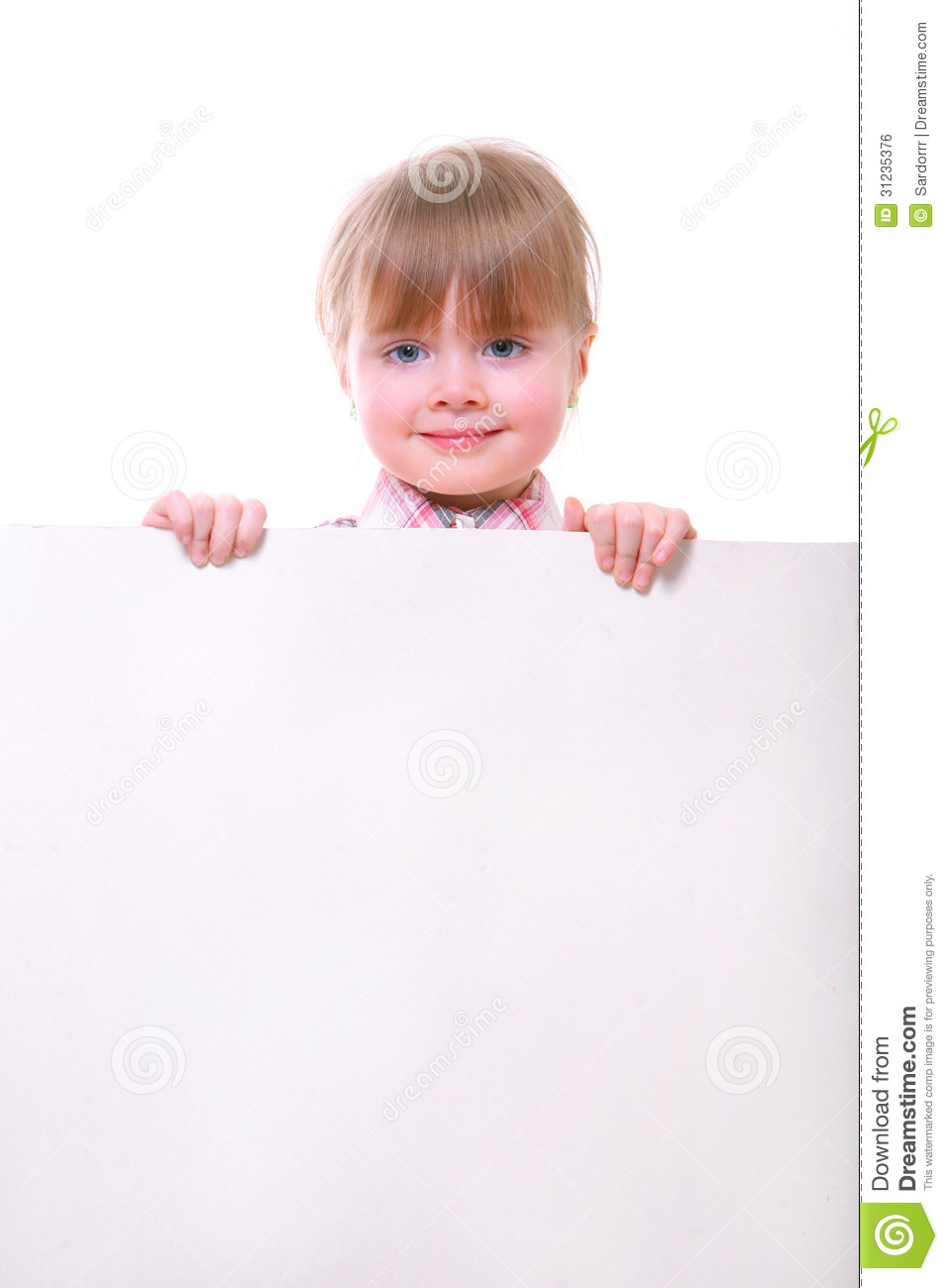 Girl holding card board stock photo. Image of little ...