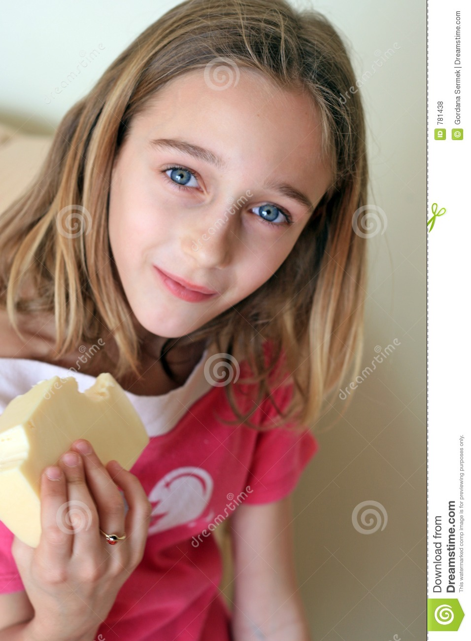 Girl holding cheese