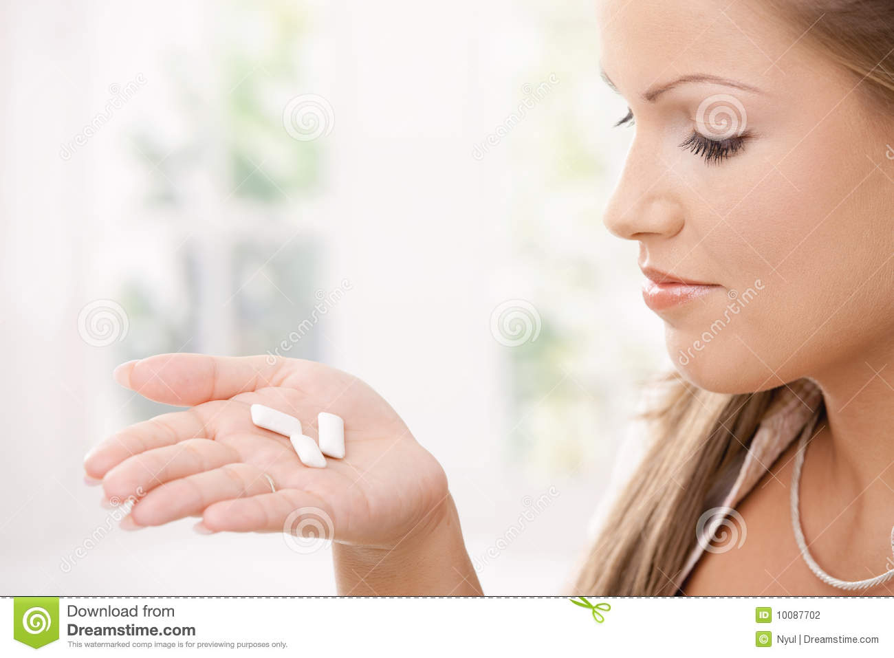 Girl Holding Chewing Gums Stock Photography Image 10087702