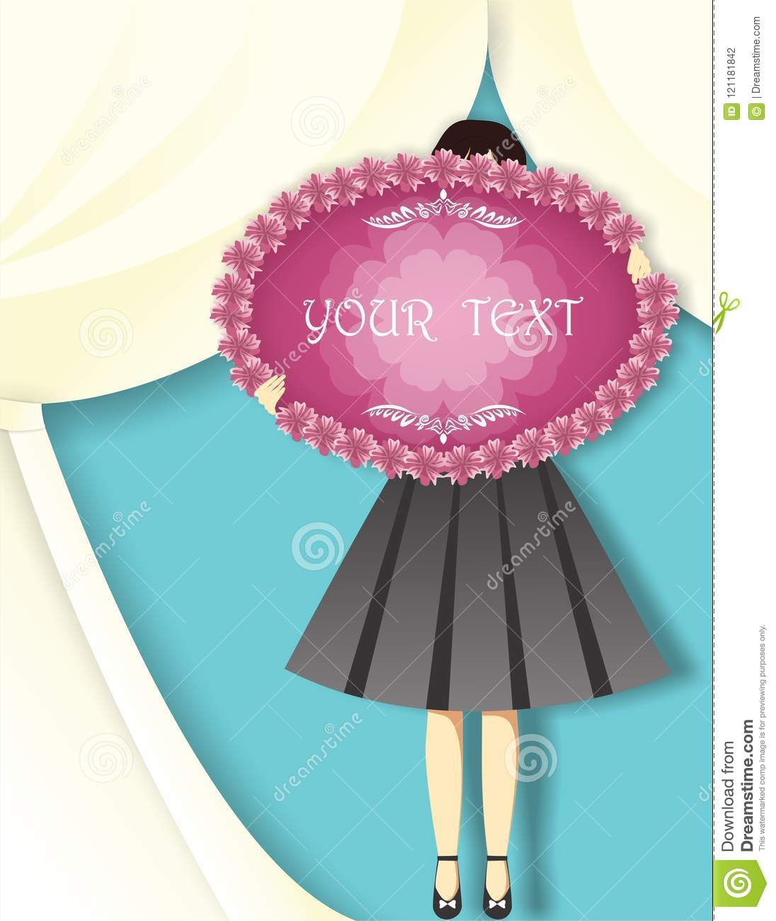 girl holding circular banner before curtain background vector