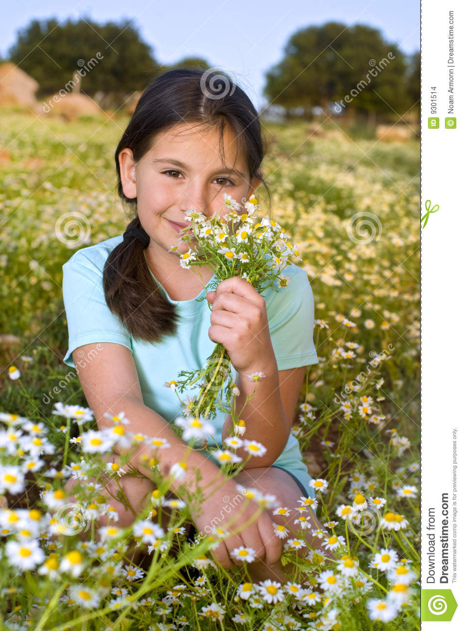 Girl Holding Flowers In Field At Sunset Stock Images ...