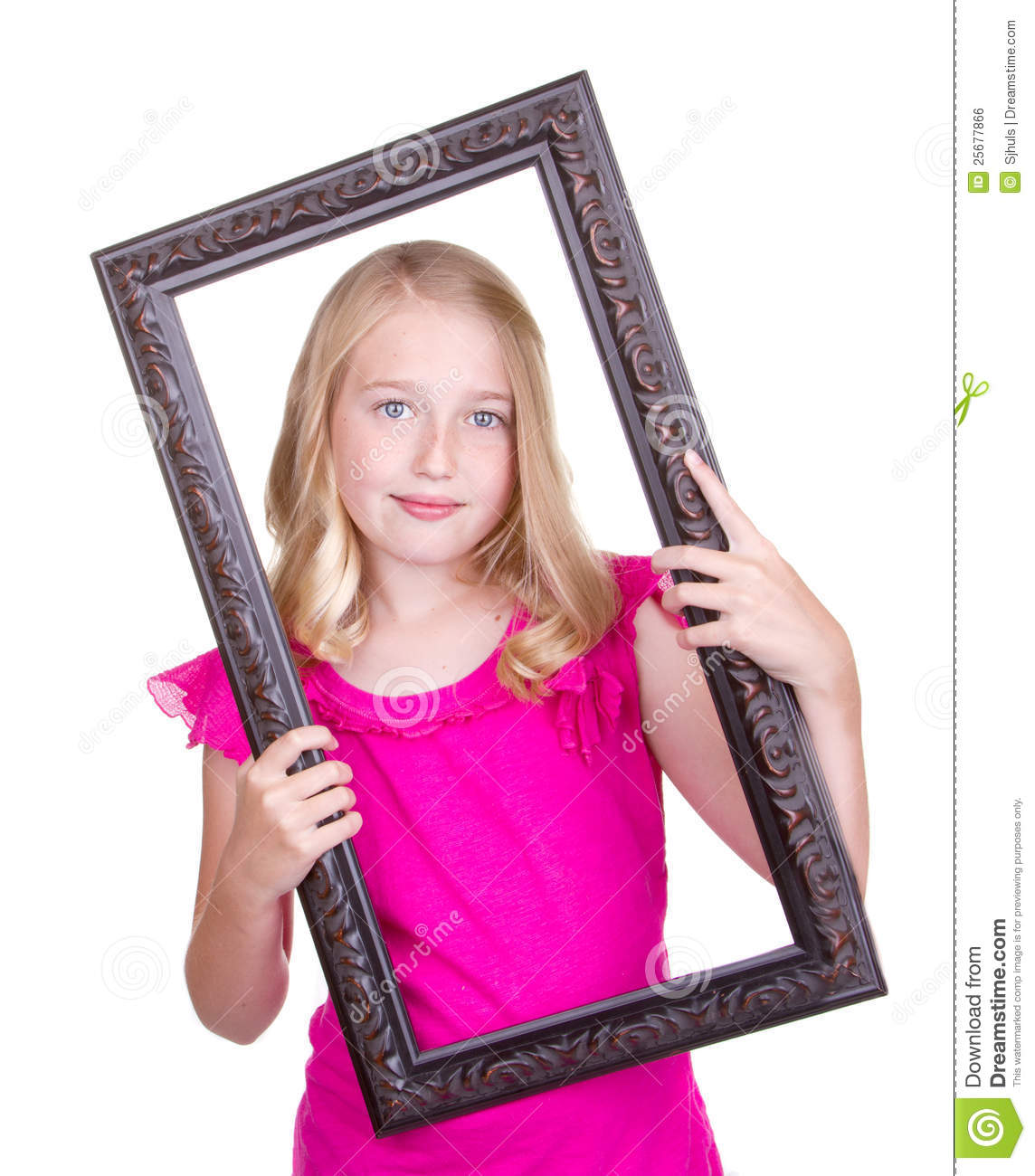 Girl Holding Frame Around Face Stock Photo Image Of Hold Cute