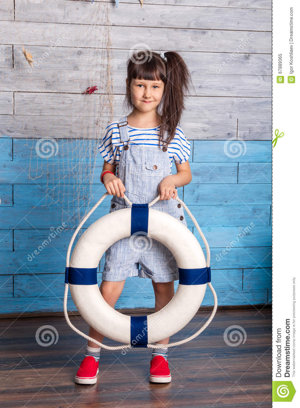 Girl holding a life preserver