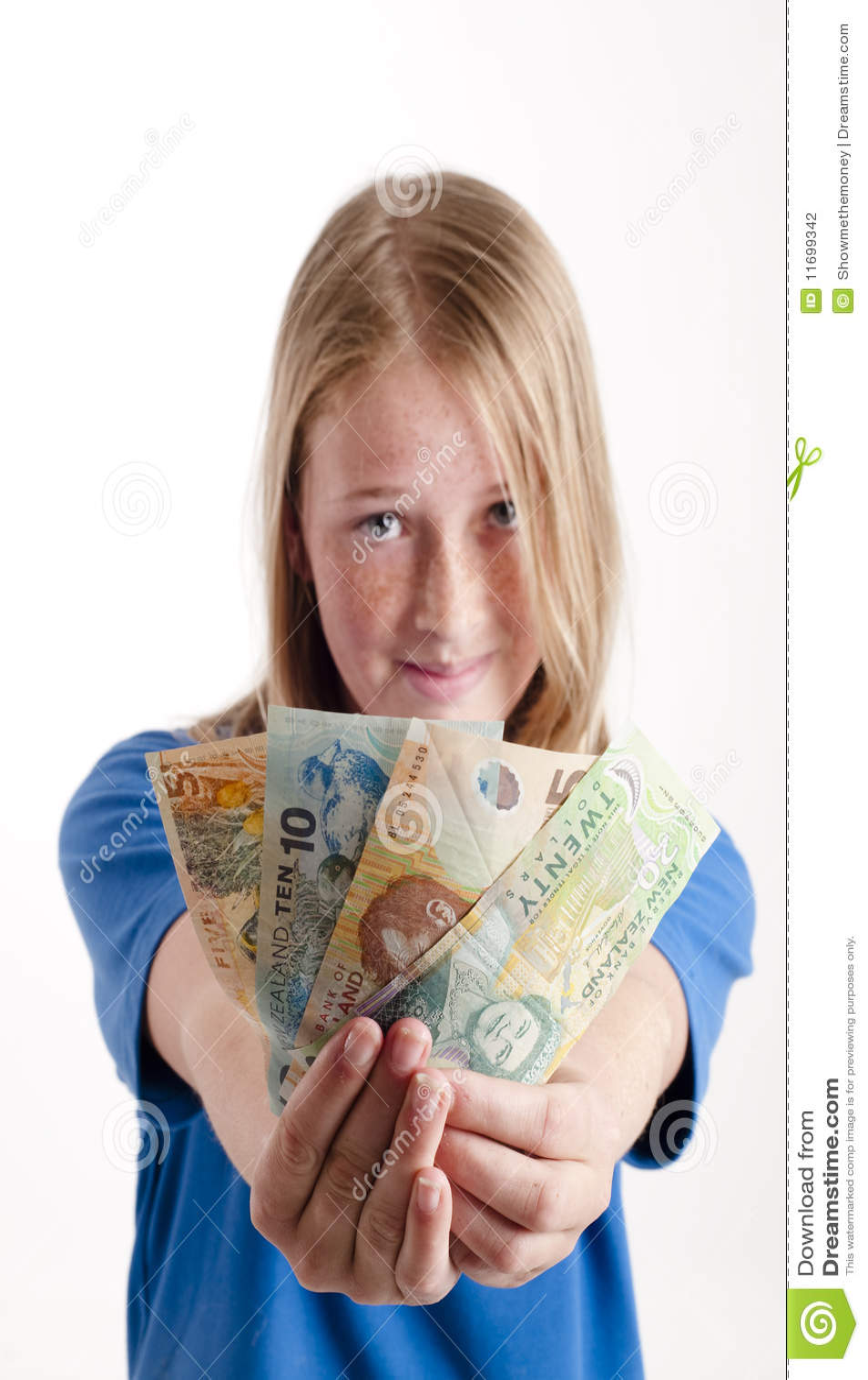 Girl Holding Money Stock Photography - Image: 11699342