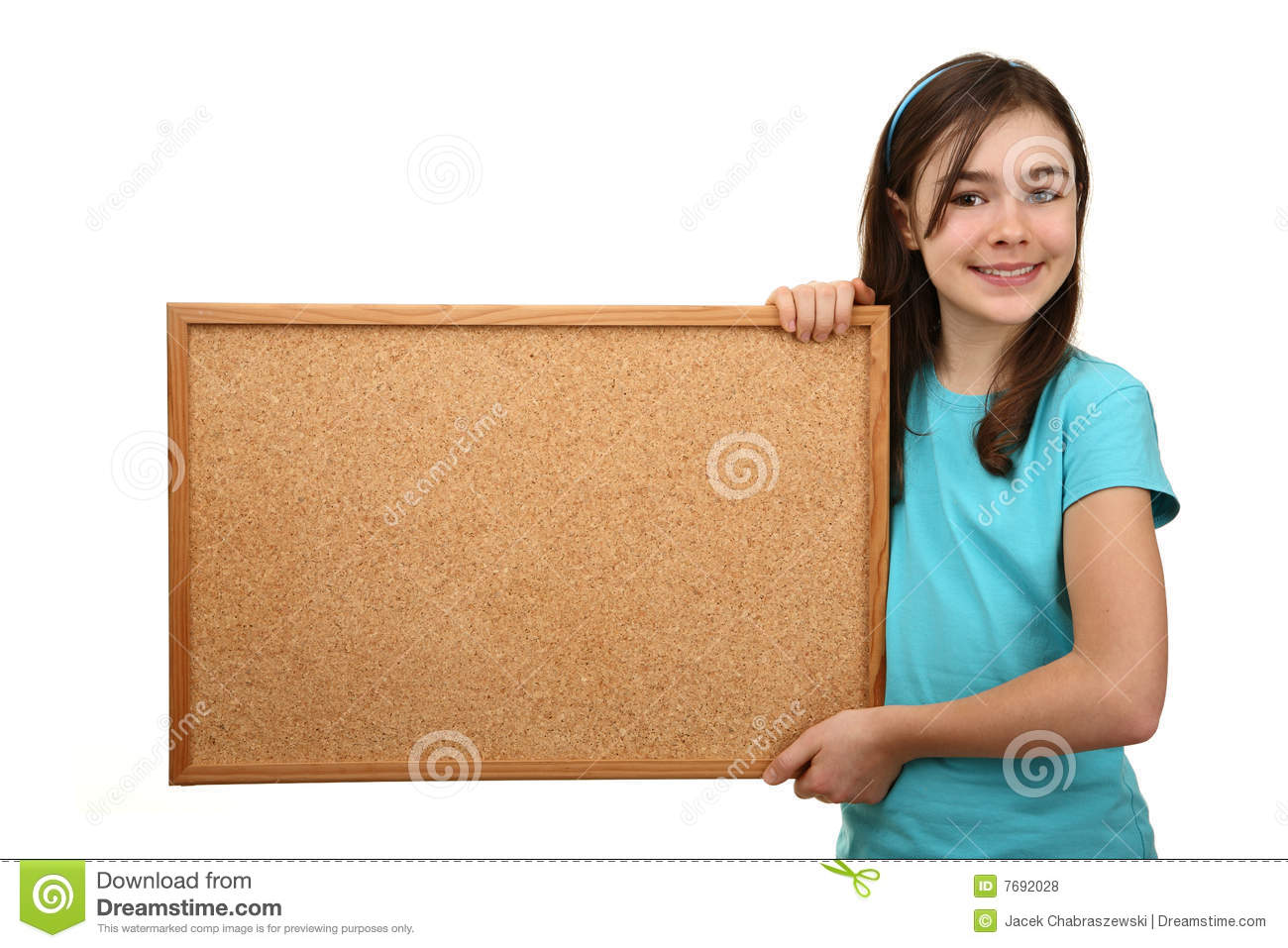 Girl holding noticeboard