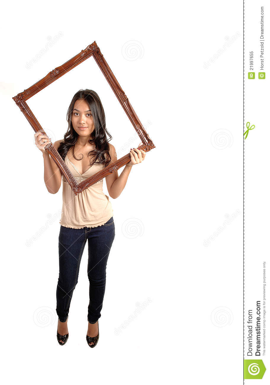 Girl Holding Picture Frame. Stock Image - Image of girl, figure ...
