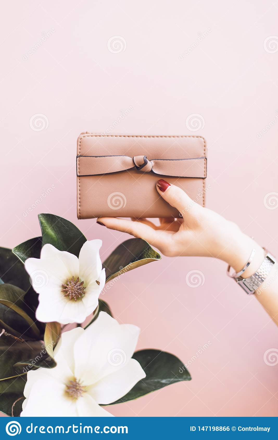 Girl holding a pink wallet on a gentle pastel background with a flower.