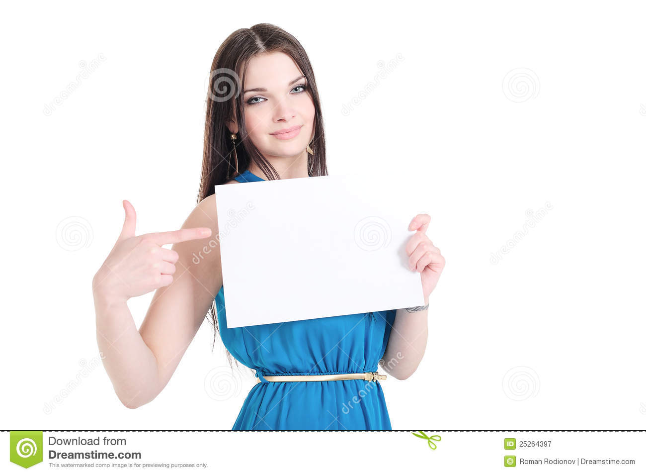Girl Holding A Sheet Of Paper With Text Space Royalty Free ...