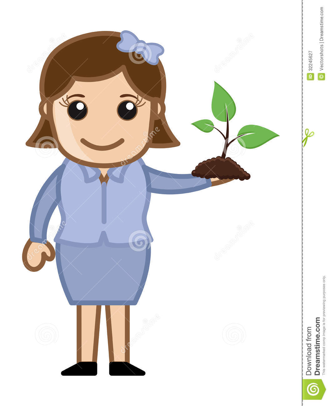 Girl Holding A Small Plant