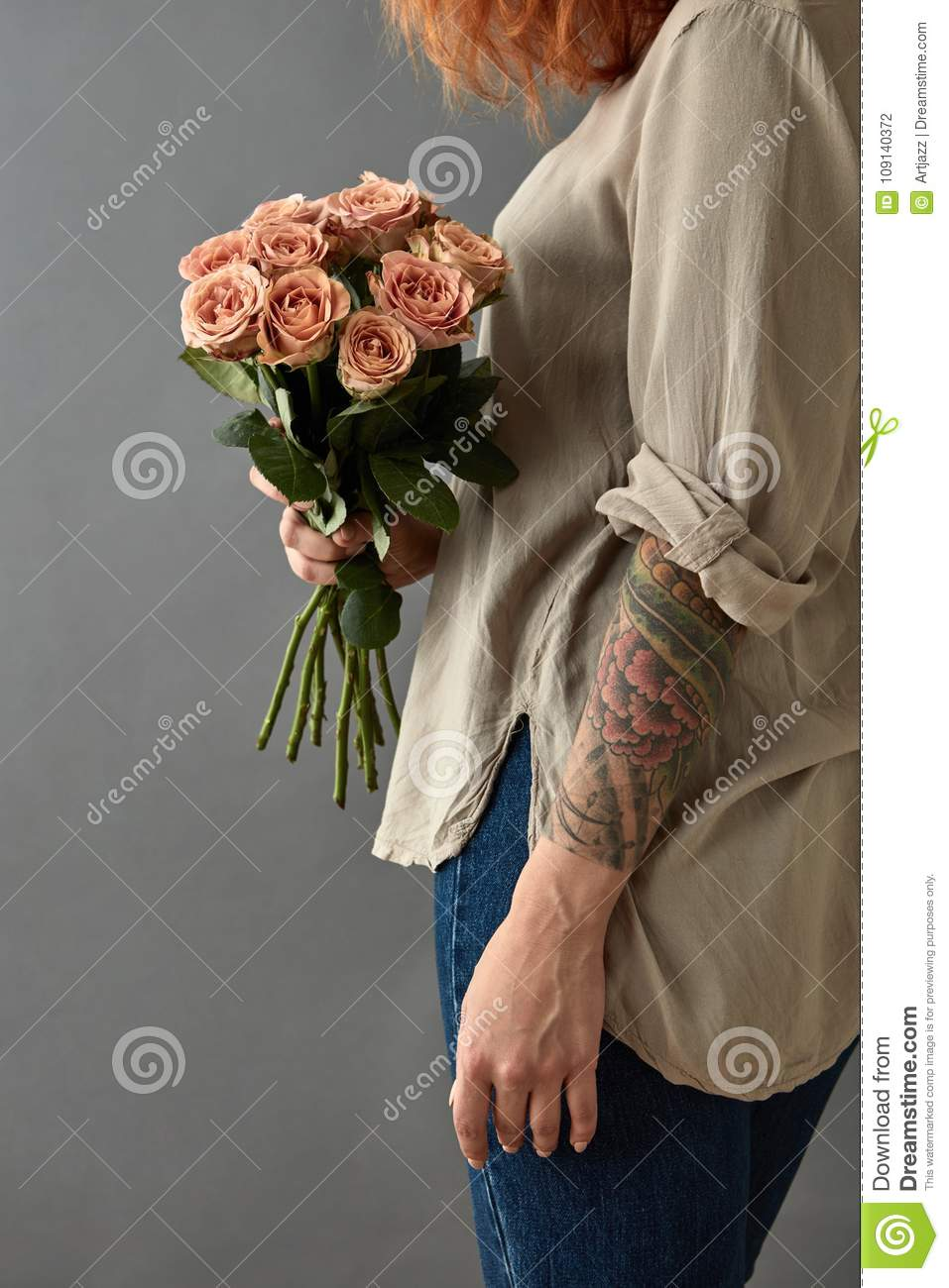 Girl Holds A Bouquet Of Beige Roses Cappuccino Stock Photo Image