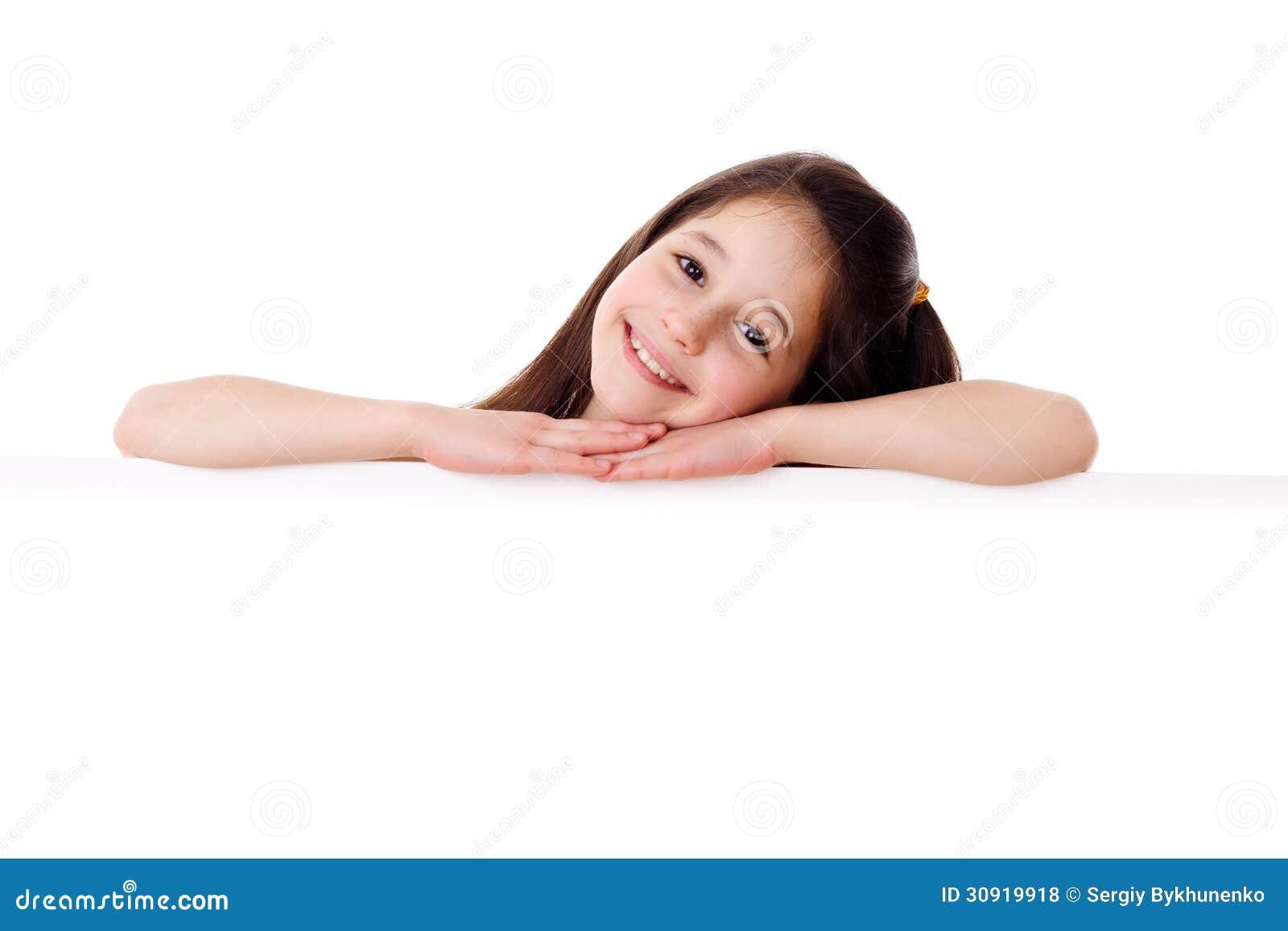 Girl with horizontal empty blank