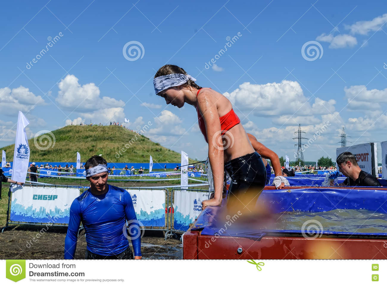Girl On Ice Bathtubs Stage In Extrim Race. Tyumen Editorial Image ...