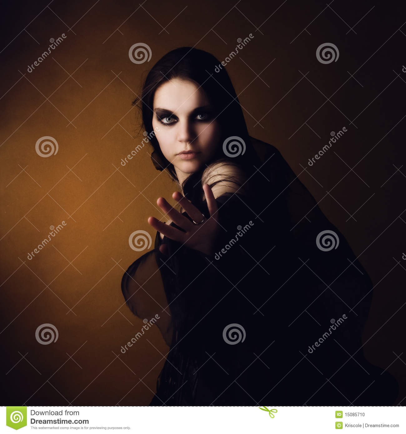 Girl in an image of a witch