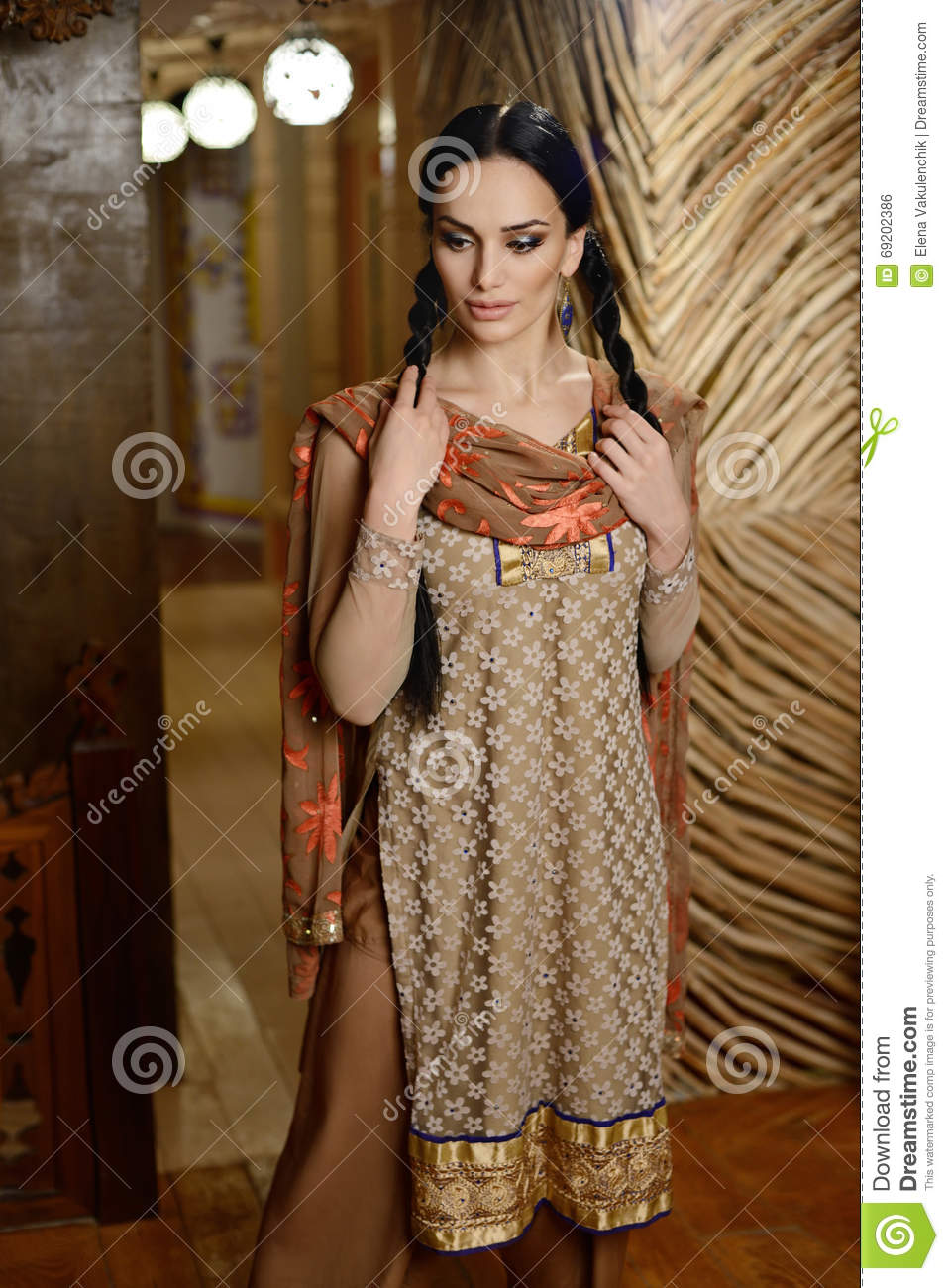 ad4c68d07a Girl In Indian National Clothes Stock Photo - Image of attractive ...