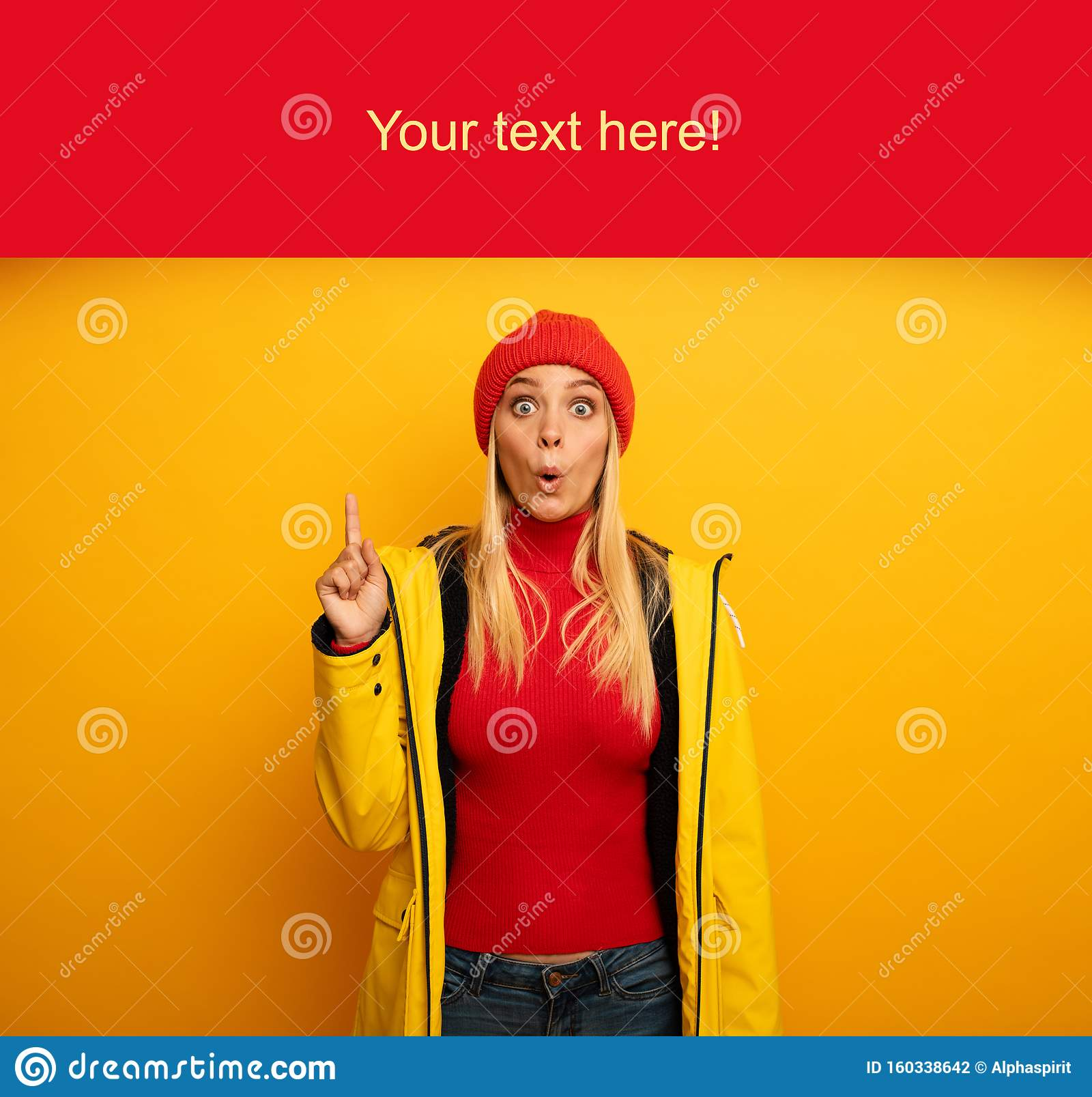 Girl indicates a message above. Amazed and shocked expression. Blank space for your text. Yellow background
