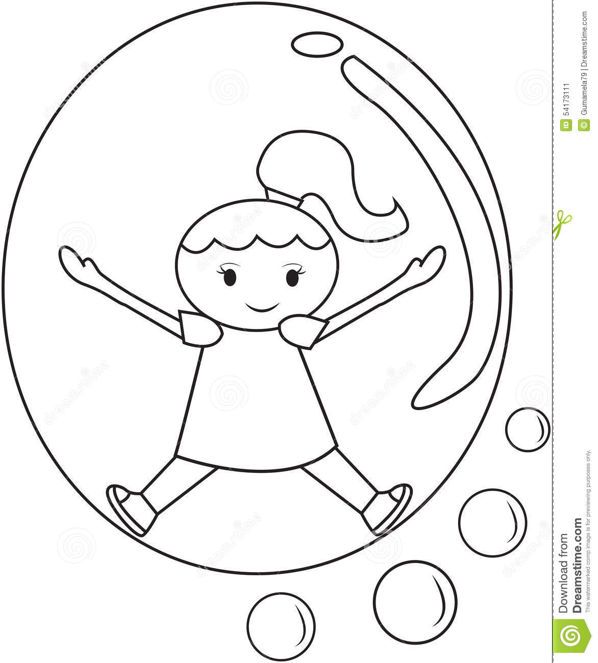 Girl inside a bubble coloring page stock illustration illustration