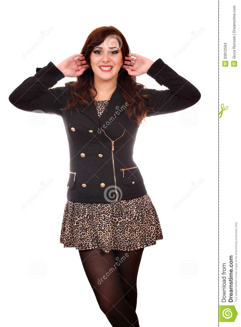 Girl In Jacket And Mini Skirt Stock Images Image 33912594