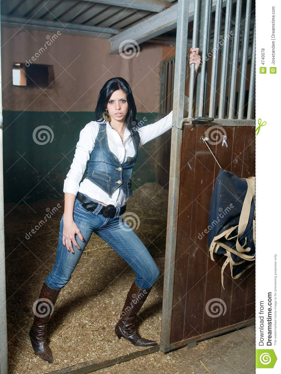 Girl With Jeans In A Farm Stock Photo Image Of Ranch