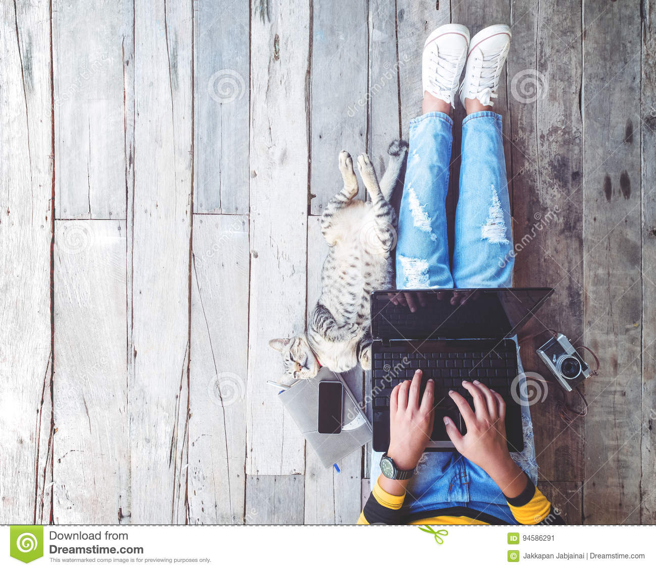 Girl in jeans working on the laptop computer assisted by her cat on the wooden floor