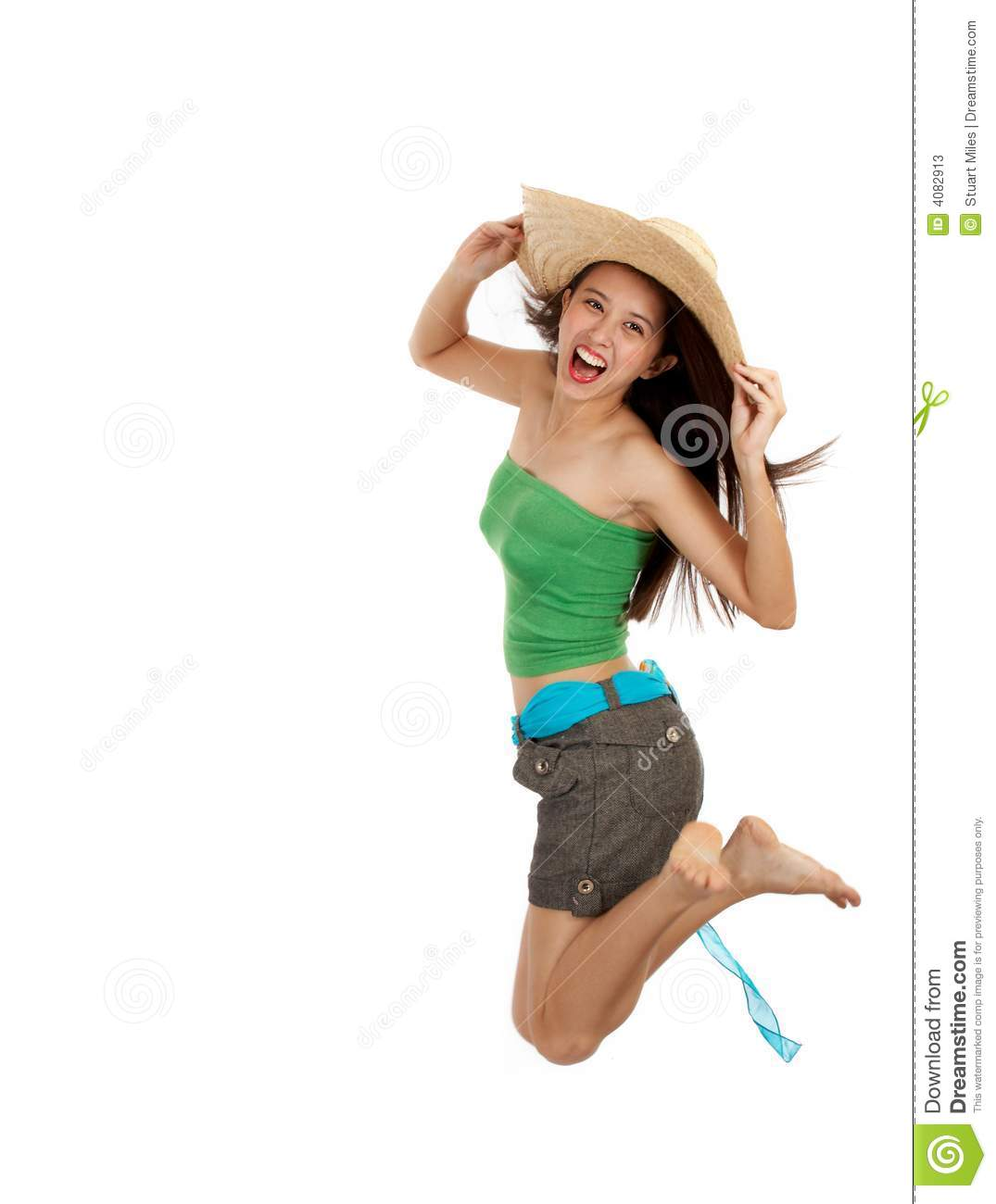 Girl Jump In Excitement Stock Photos - Image: 4082913
