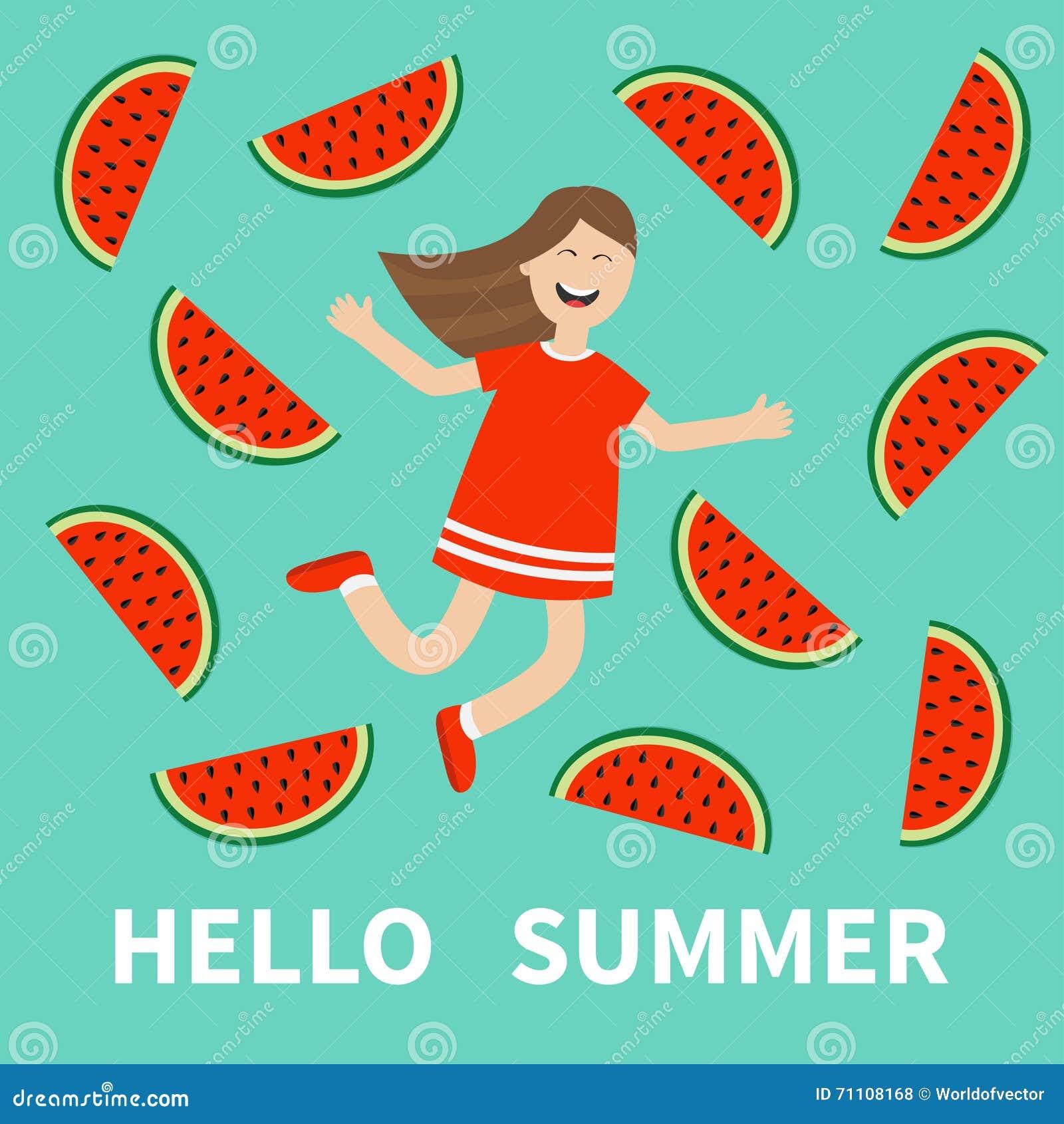 Girl Jumping Hello Summer Greeting Card. Happy Child Jump. Cute Cartoon Laugh...