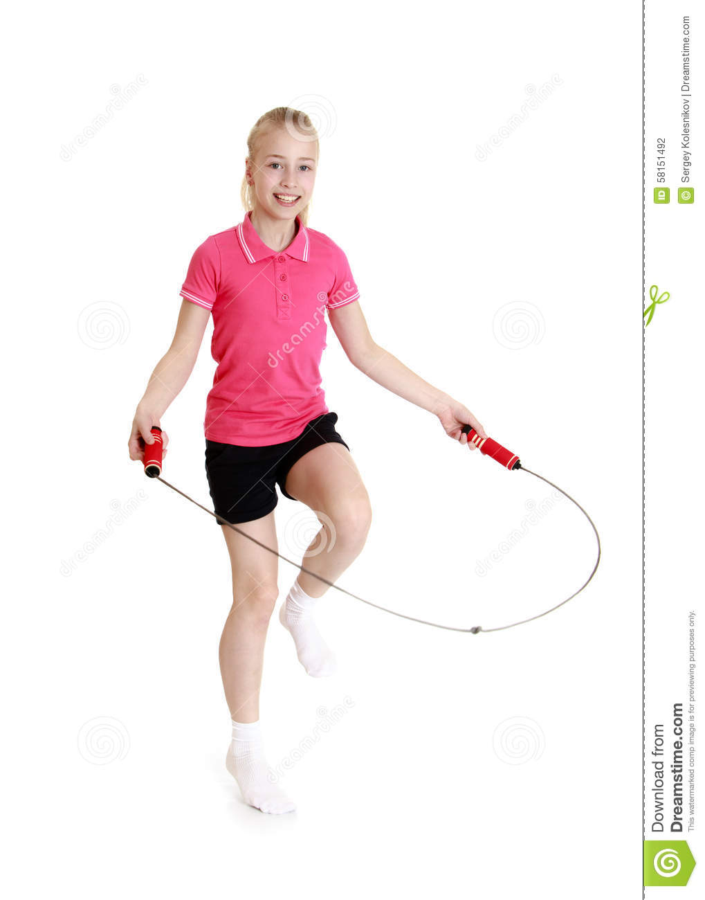 Girl jumping skipping rope stock photo. Image of people ...