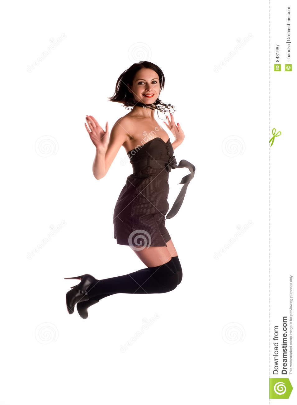 Girl jumps on the white background